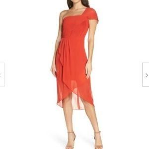 Cooper St Saffron One Shoulder Dress in Crimson